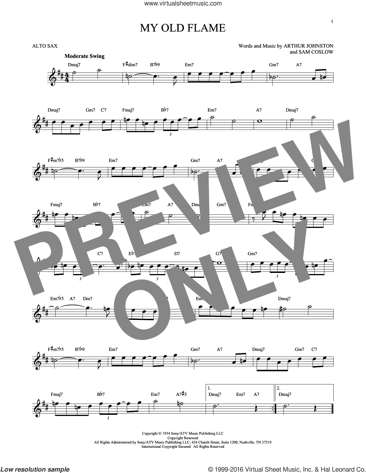 My Old Flame sheet music for alto saxophone solo by Arthur Johnston, Peggy Lee and Sam Coslow, intermediate skill level