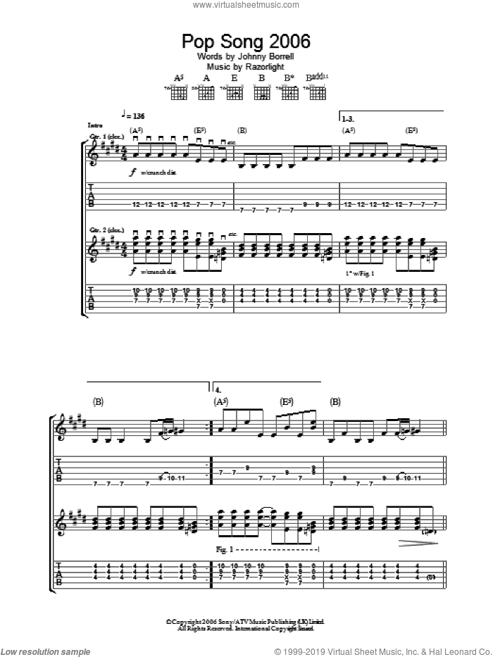 Pop Song 2006 sheet music for guitar (tablature) by Johnny Borrell
