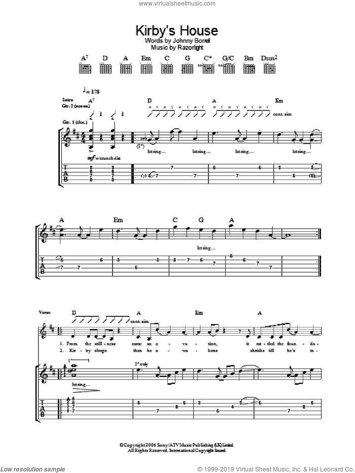 Kirby's House sheet music for guitar (tablature) by Razorlight. Score Image Preview.