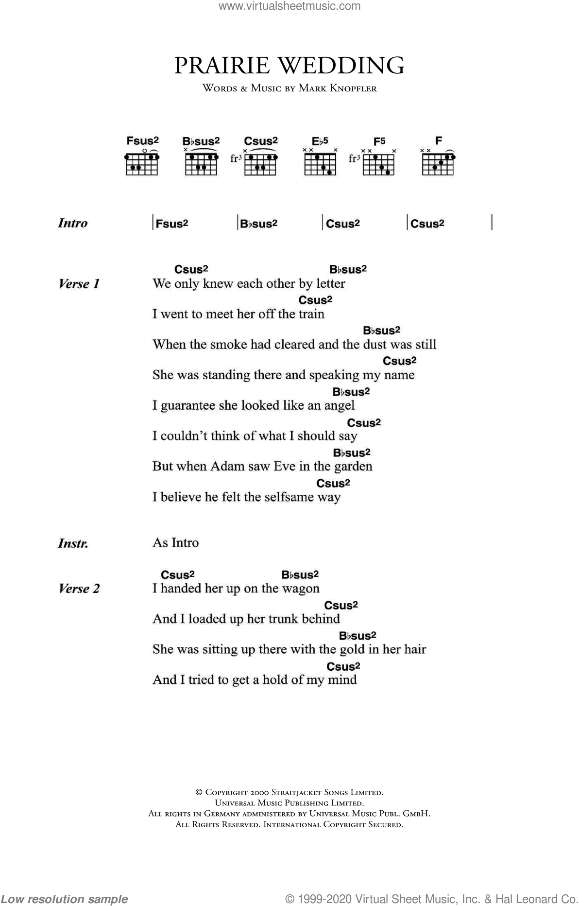 Knopfler - Prairie Wedding sheet music for guitar (chords) [PDF]