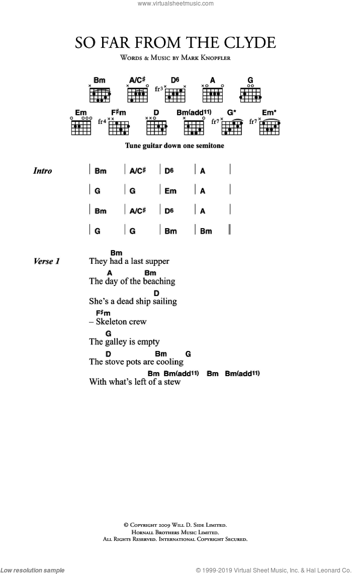 So Far From The Clyde sheet music for guitar (chords) by Mark Knopfler. Score Image Preview.