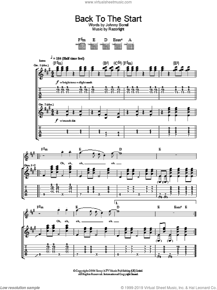Back To The Start sheet music for guitar (tablature) by Razorlight and Johnny Borrell, intermediate skill level