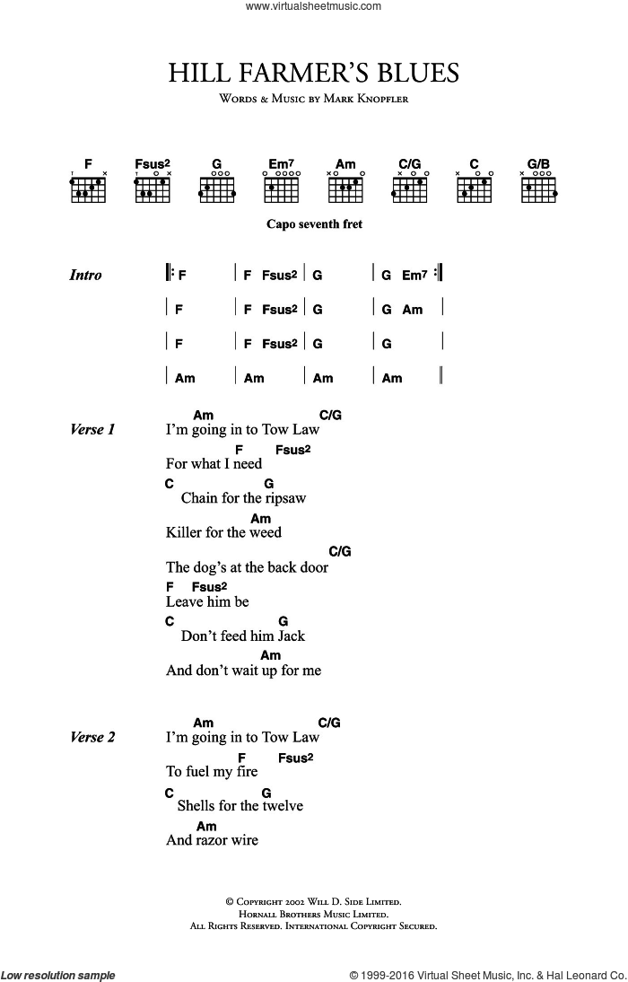 Hill Farmer's Blues sheet music for guitar (chords) by Mark Knopfler. Score Image Preview.