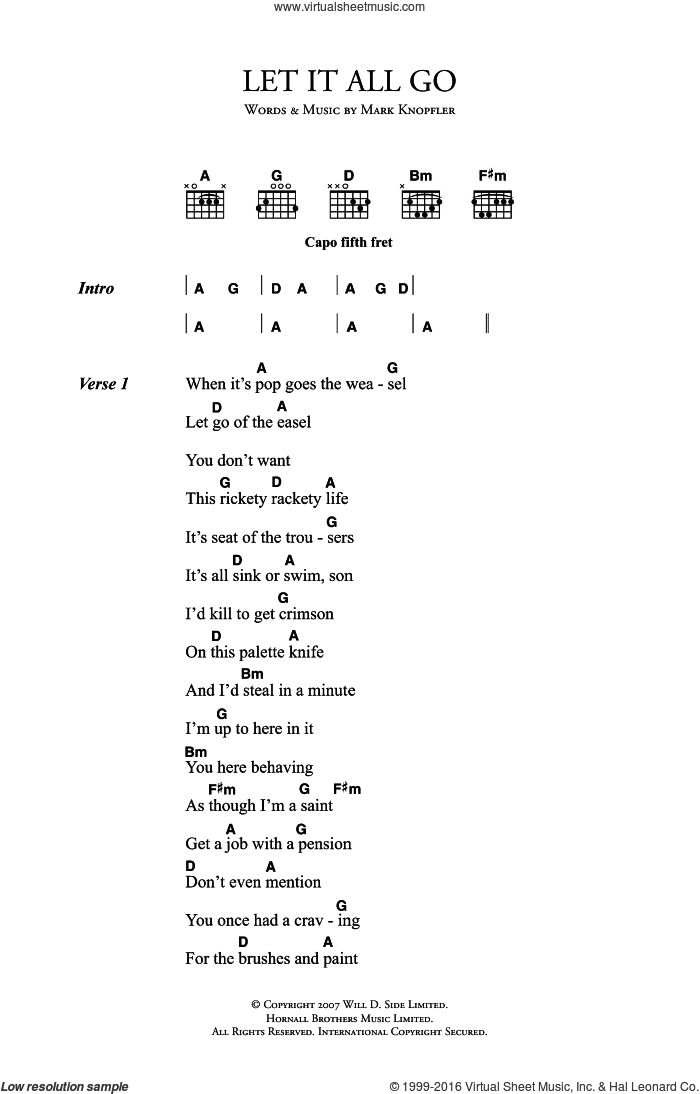 Knopfler Let It All Go Sheet Music For Guitar Chords Pdf