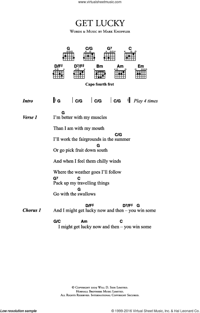 Get Lucky sheet music for guitar (chords) by Mark Knopfler. Score Image Preview.