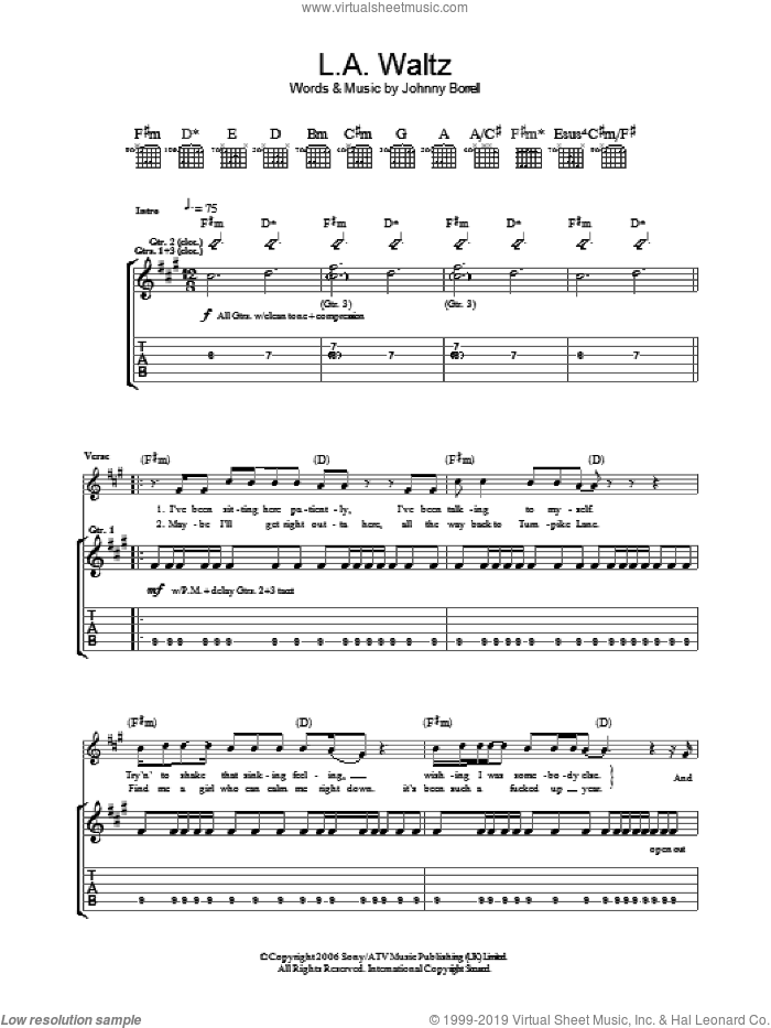 Los Angeles Waltz sheet music for guitar (tablature) by Razorlight and Johnny Borrell, intermediate skill level