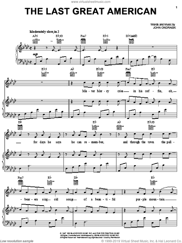 The Last Great American sheet music for voice, piano or guitar by Five For Fighting, intermediate. Score Image Preview.