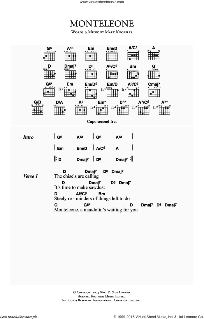 Monteleone sheet music for guitar (chords) by Mark Knopfler. Score Image Preview.