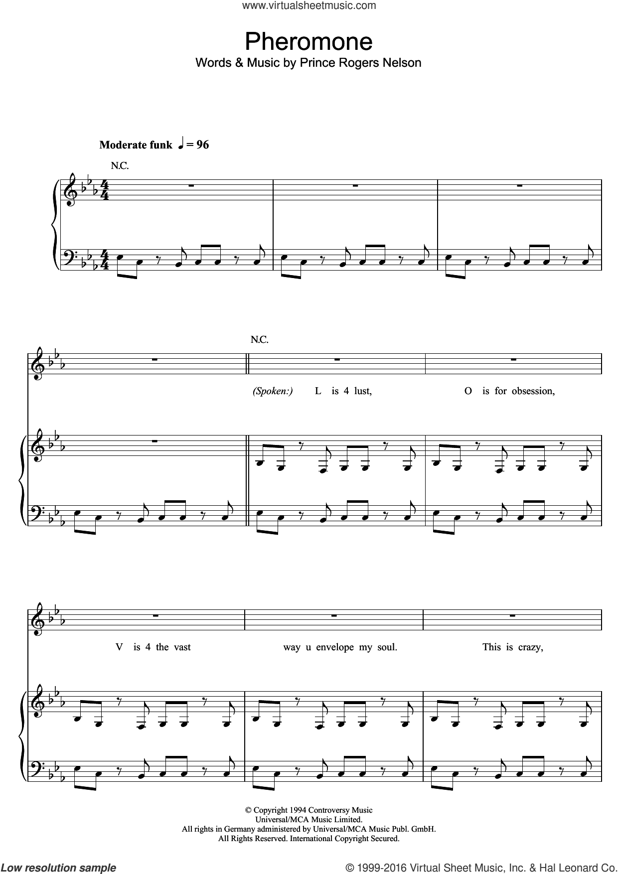 Pheromone sheet music for voice, piano or guitar by Prince and Prince Rogers Nelson, intermediate