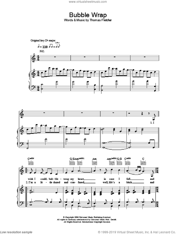 Bubble Wrap sheet music for voice, piano or guitar by Thomas Fletcher. Score Image Preview.