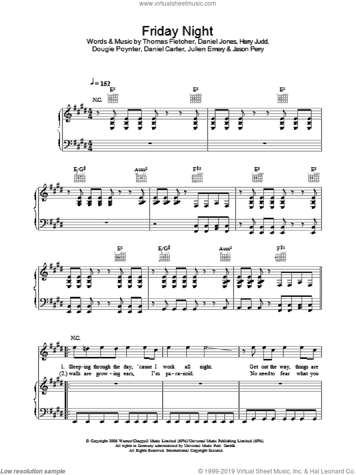 Friday Night sheet music for voice, piano or guitar by Daniel Carter