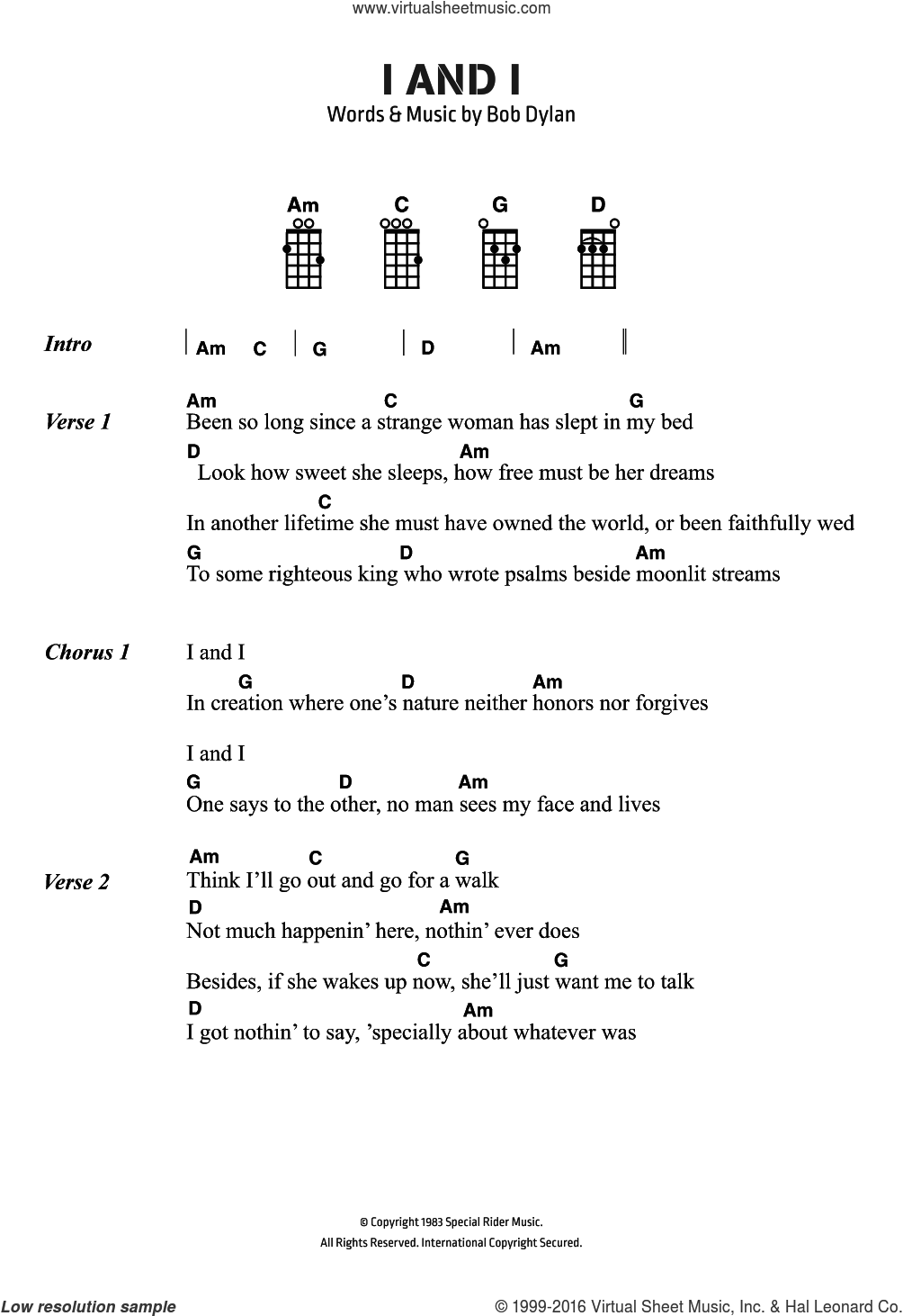 I And I sheet music for voice, piano or guitar by Bob Dylan. Score Image Preview.