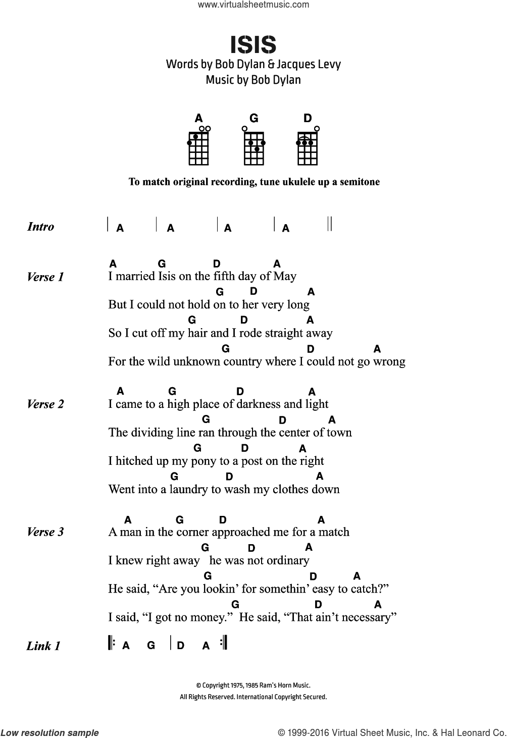 Dylan - Isis sheet music for ukulele (chords) [PDF]