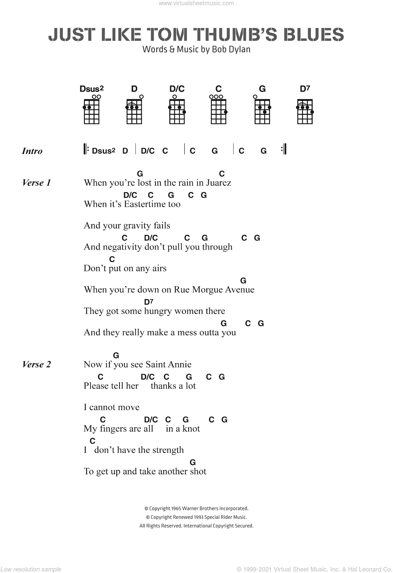Just Like Tom Thumb's Blues sheet music for voice, piano or guitar by Bob Dylan. Score Image Preview.