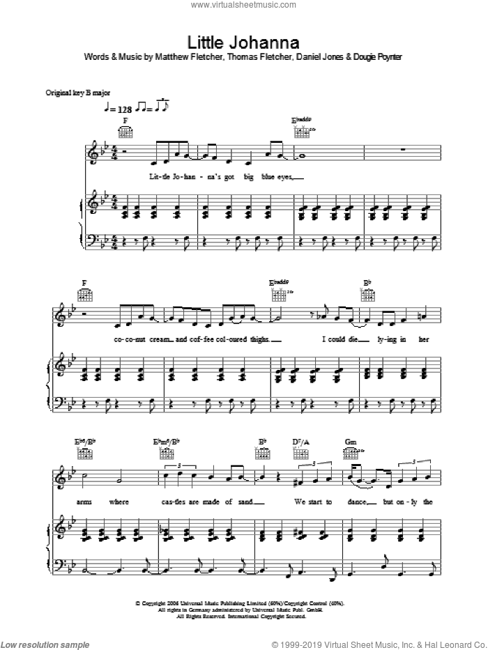 Little Joanna sheet music for voice, piano or guitar by Danny Jones, Dougie Poynter and Thomas Fletcher. Score Image Preview.