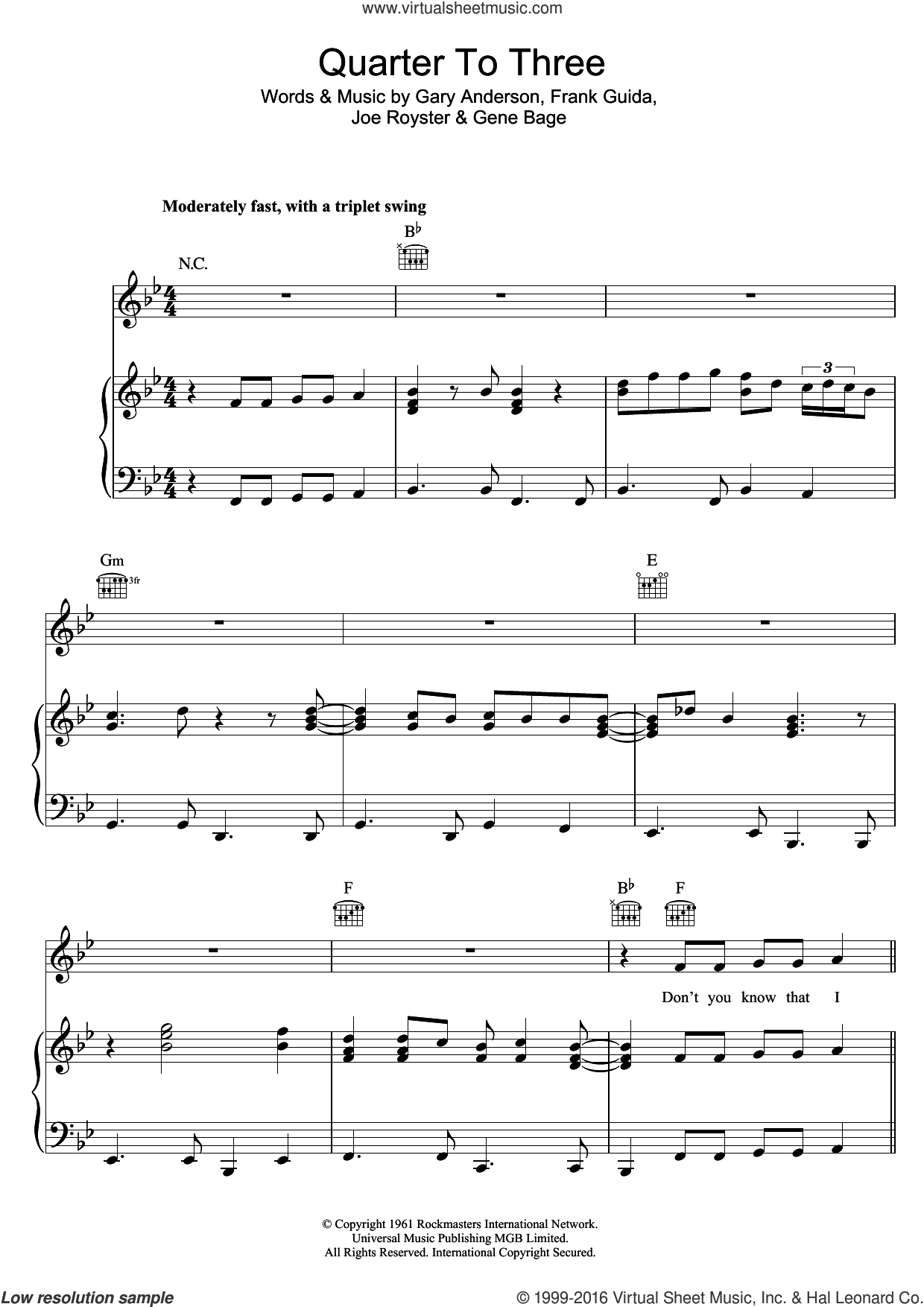 Quarter To Three sheet music for voice, piano or guitar by Bill Wyman, intermediate. Score Image Preview.