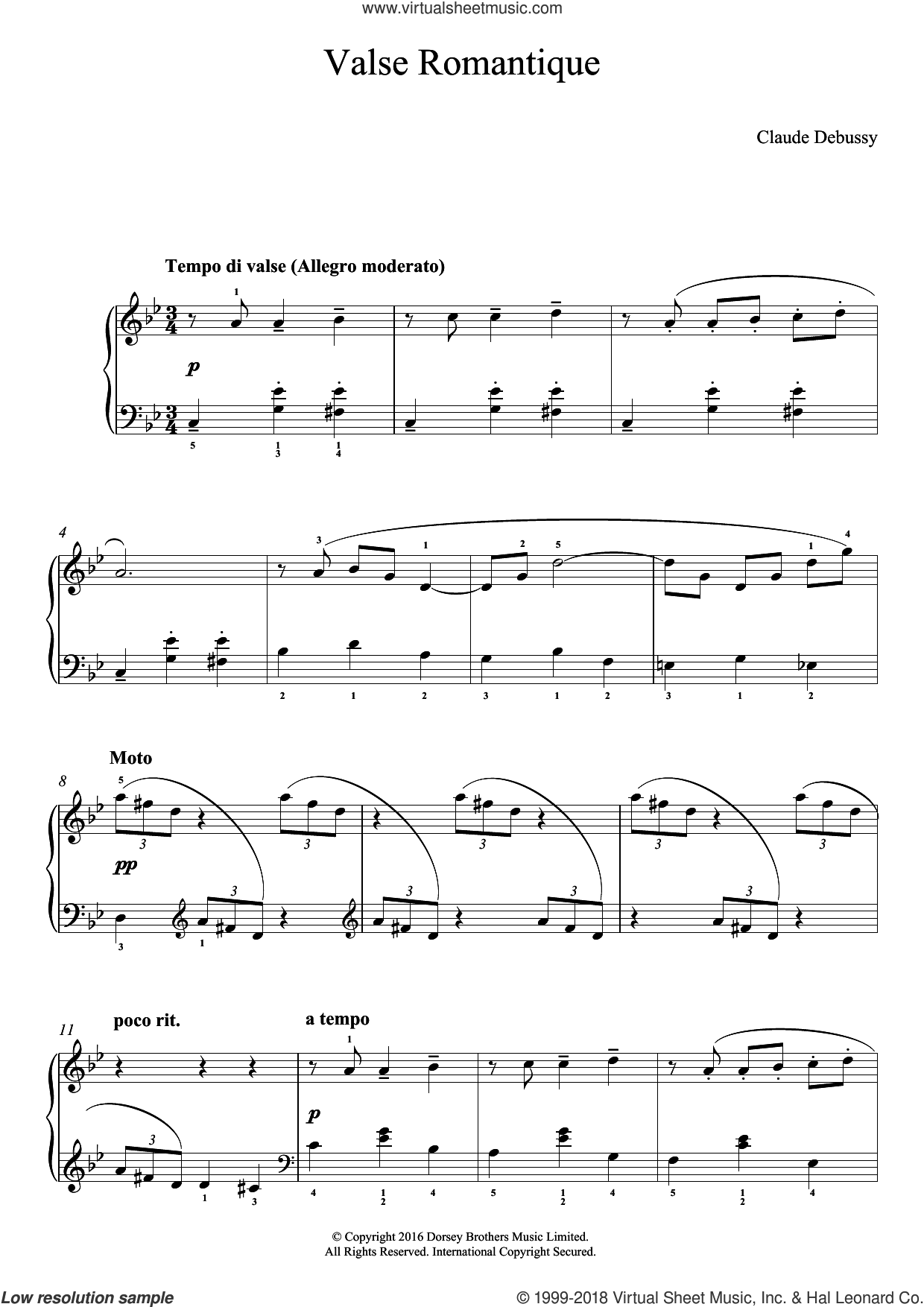 Valse Romantique sheet music for piano solo by Claude Debussy, classical score, easy skill level