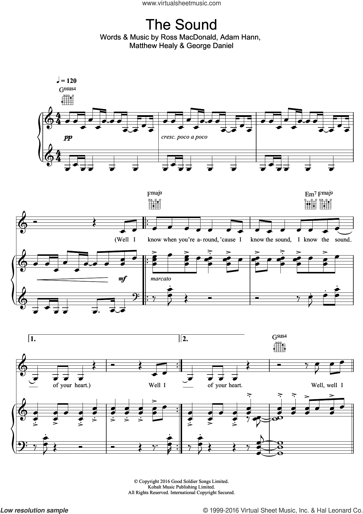 The Sound sheet music for voice, piano or guitar by The 1975. Score Image Preview.
