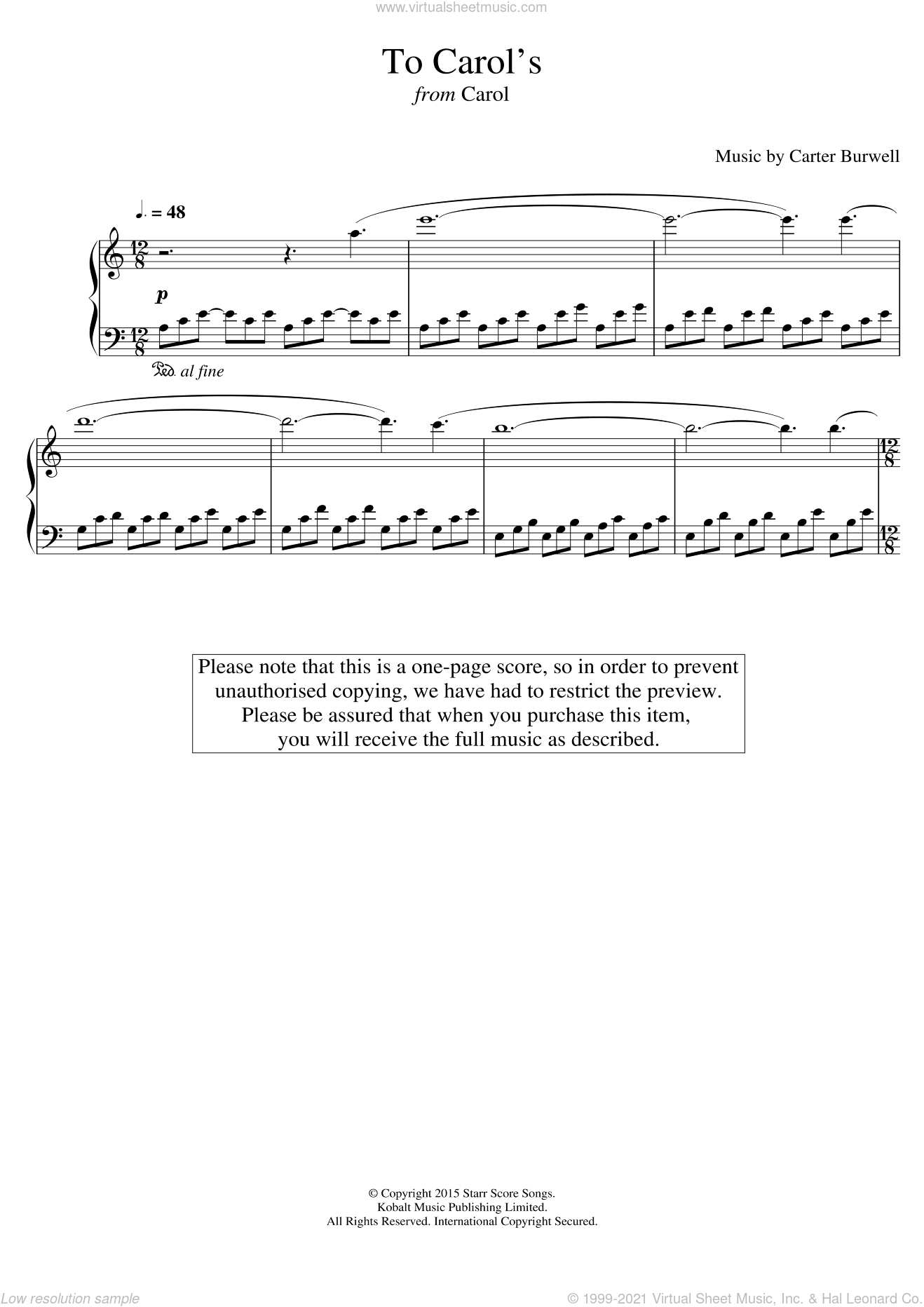 To Carol's (from 'Carol') sheet music for piano solo by Carter Burwell, intermediate. Score Image Preview.