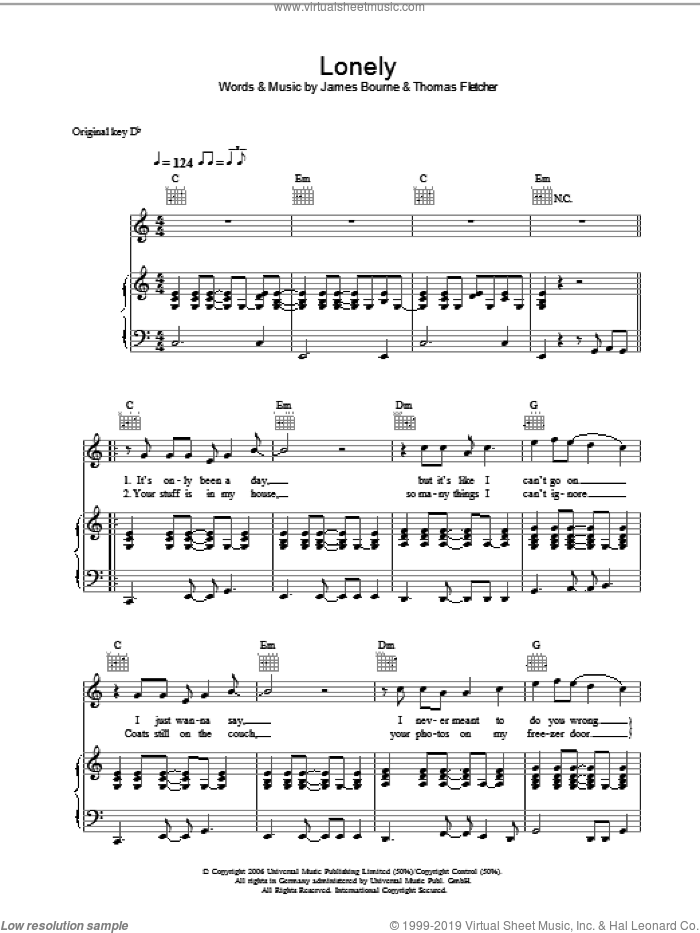 Lonely sheet music for voice, piano or guitar by James Bourne and Thomas Fletcher. Score Image Preview.