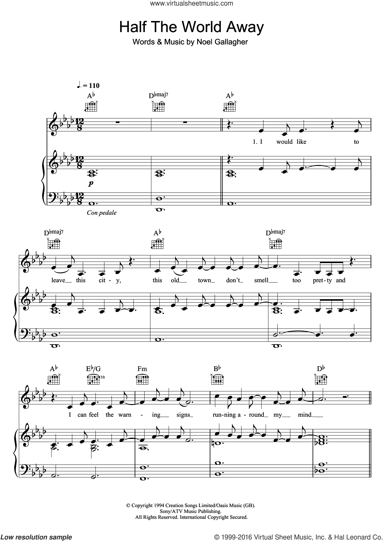 Half The World Away sheet music for voice, piano or guitar by Aurora, Oasis and Noel Gallagher, intermediate skill level