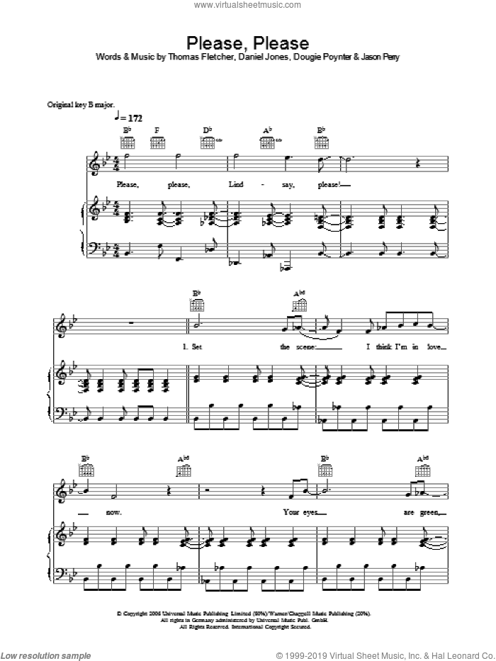 Please, Please sheet music for voice, piano or guitar by Danny Jones, Dougie Poynter, Jason Perry and Thomas Fletcher. Score Image Preview.