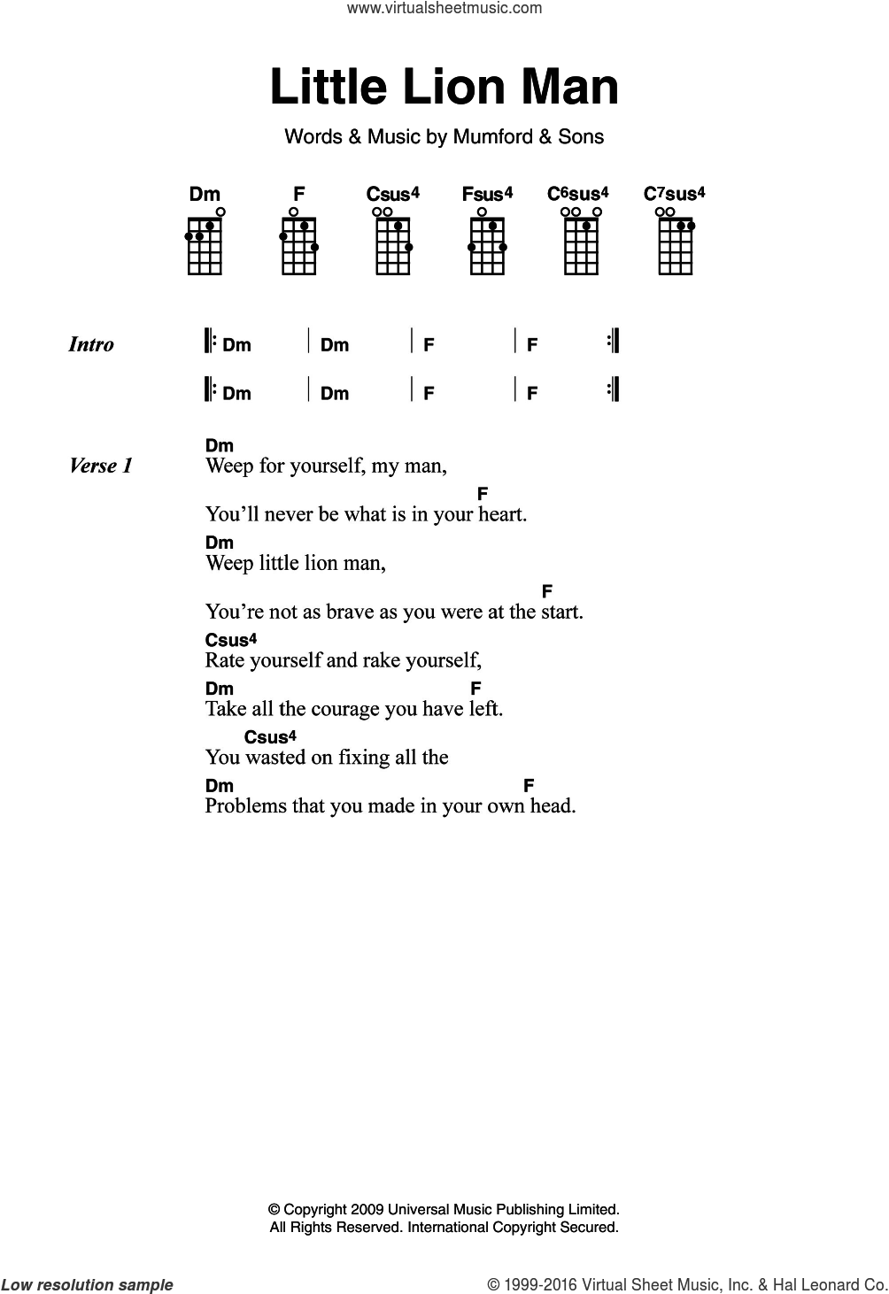 Little Lion Man sheet music for voice, piano or guitar by Mumford & Sons