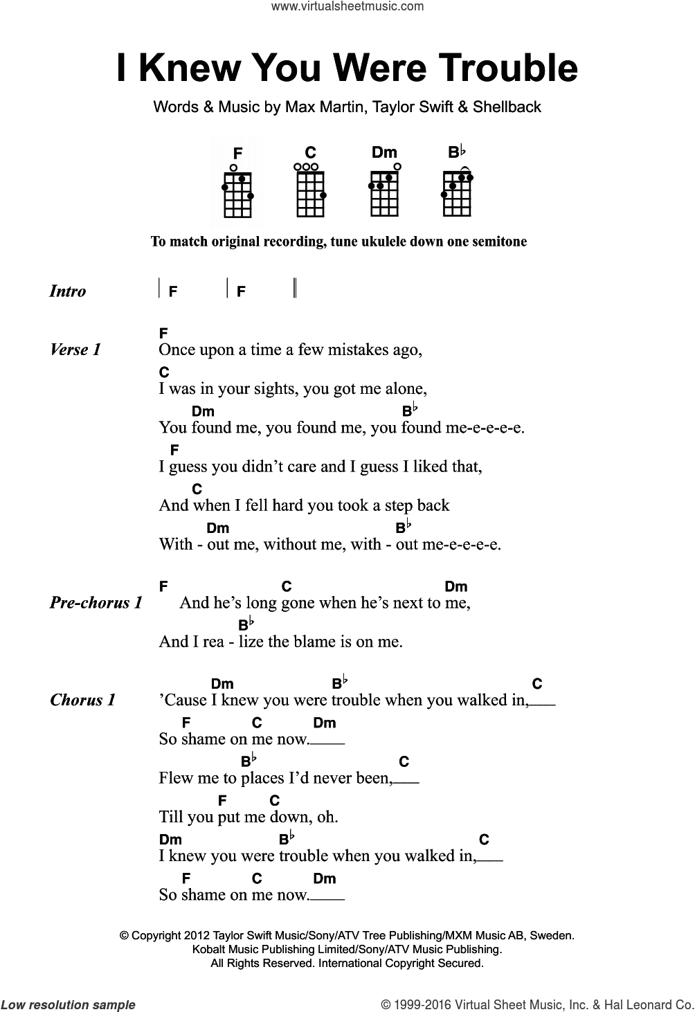 I Knew You Were Trouble sheet music for voice, piano or guitar by Taylor Swift, Max Martin and Shellback, intermediate skill level