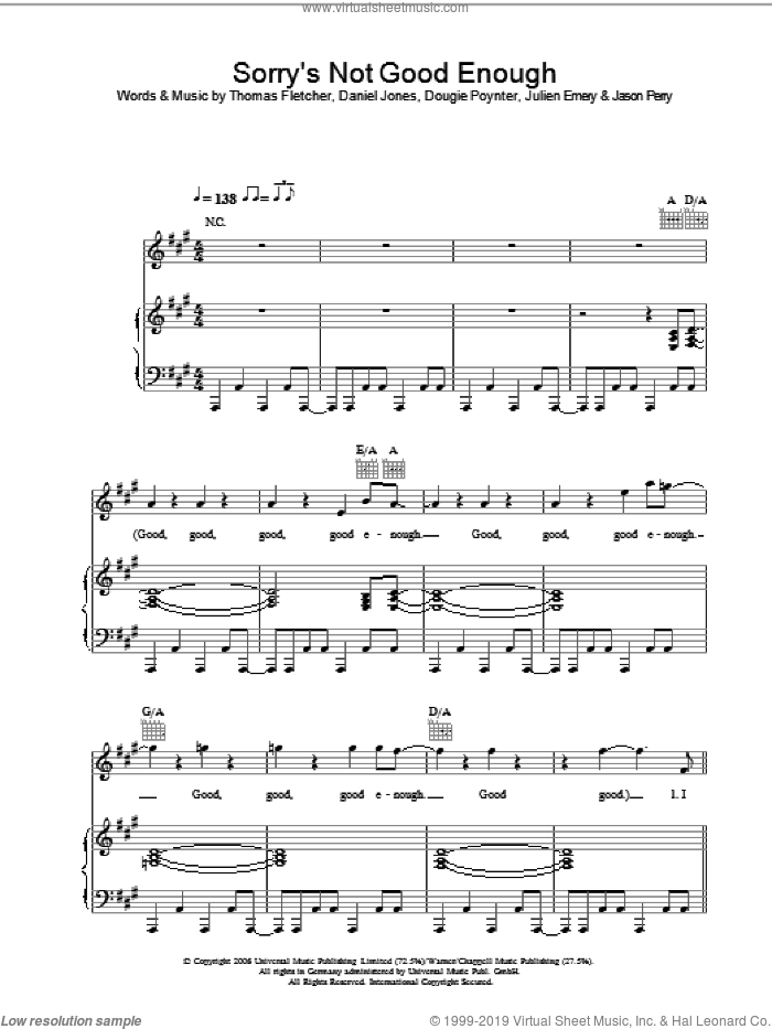Sorry's Not Good Enough sheet music for voice, piano or guitar by Danny Jones