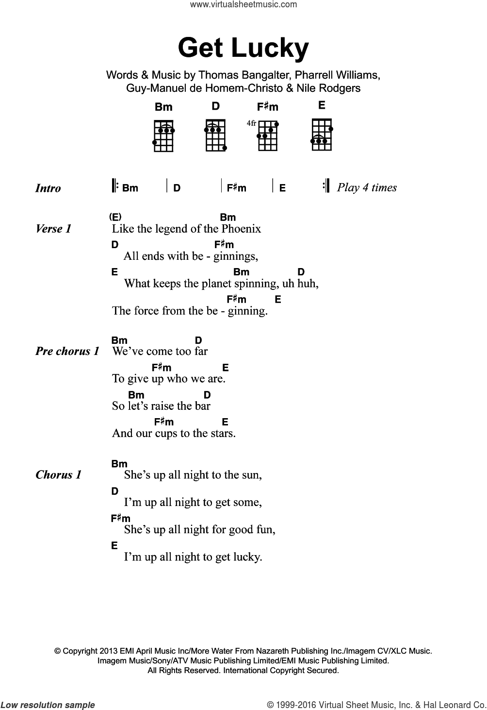 Get Lucky (featuring Pharrell Williams) sheet music for voice, piano or guitar by Thomas Bangalter