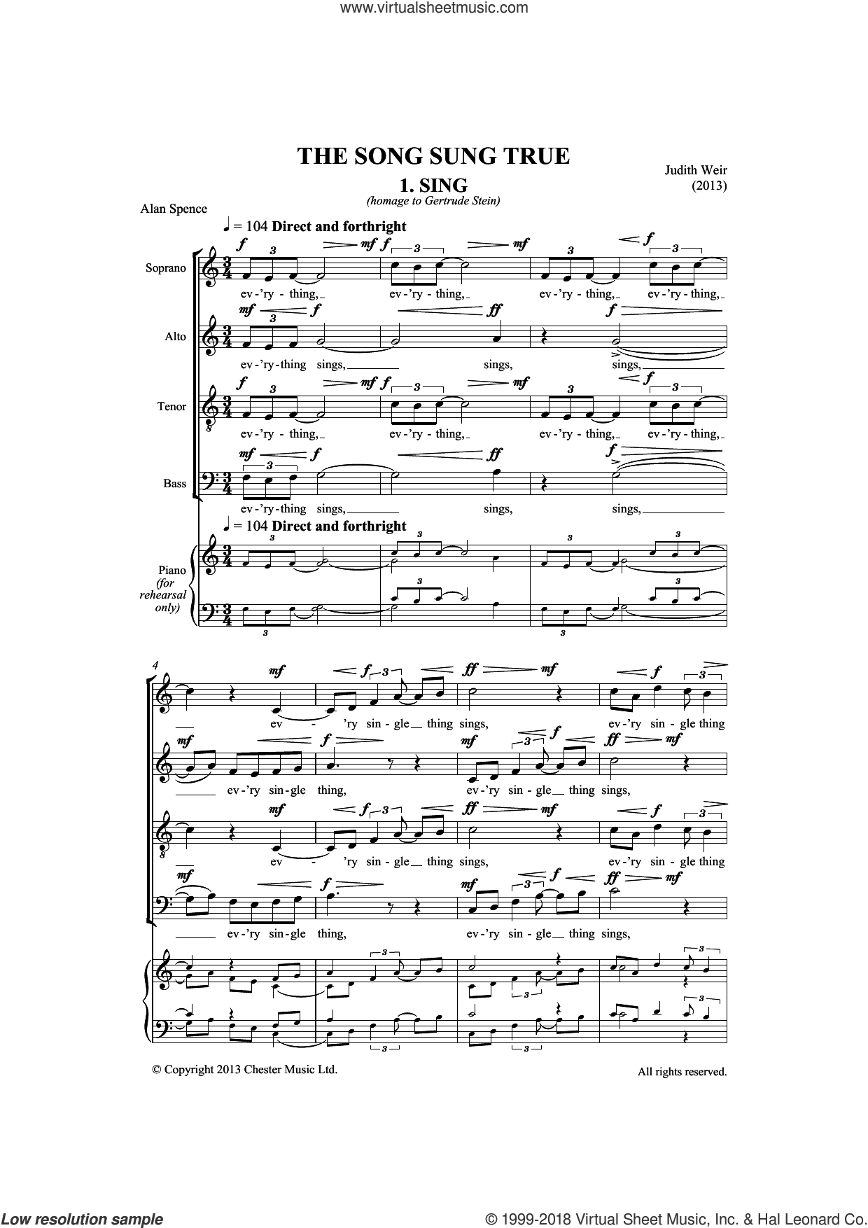Song Sung True sheet music for choir by Judith Weir. Score Image Preview.