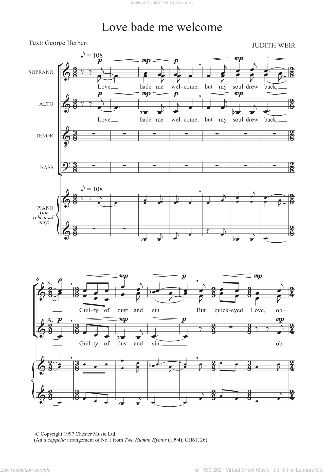Love Bade Me Welcome sheet music for voice, piano or guitar by George Herbert and Judith Weir. Score Image Preview.