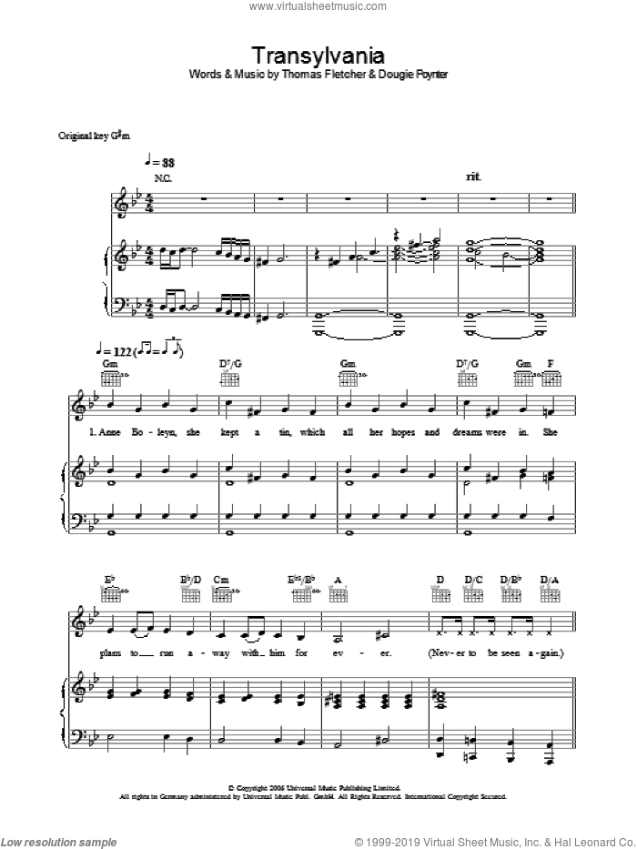 Transylvania sheet music for voice, piano or guitar by Dougie Poynter and Thomas Fletcher. Score Image Preview.