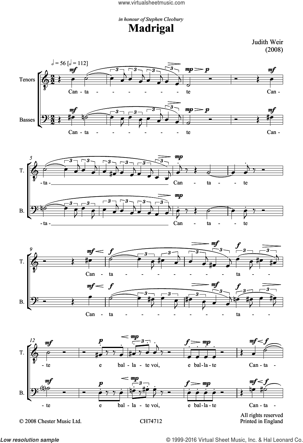 Madrigal sheet music for voice, piano or guitar by Judith Weir. Score Image Preview.