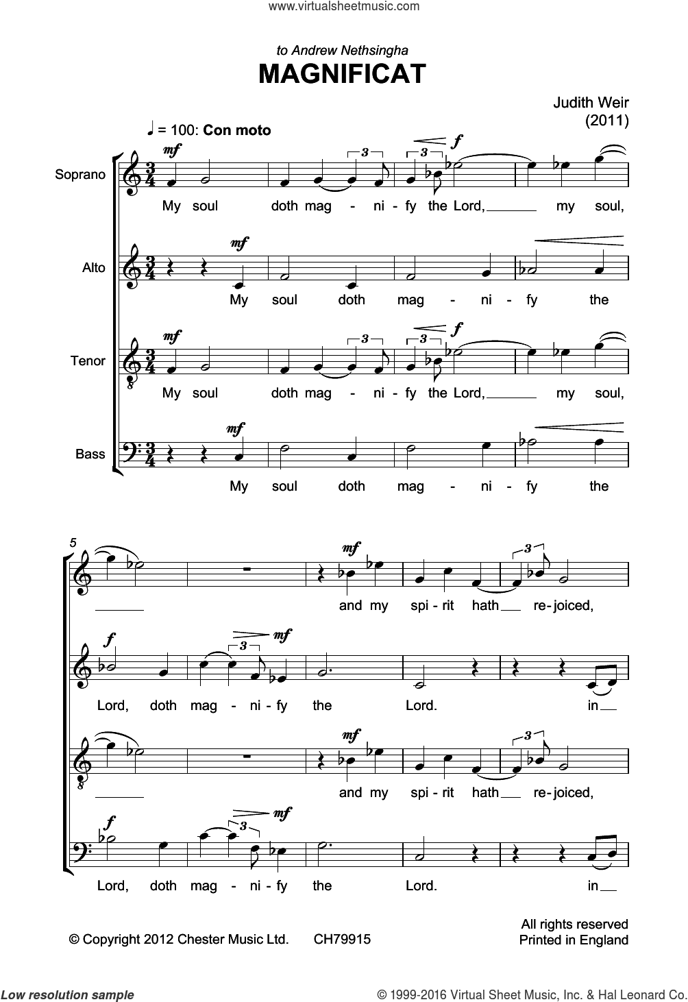 Magnificat And Nunc Dimittis sheet music for voice, piano or guitar by Liturgical Text and Judith Weir. Score Image Preview.