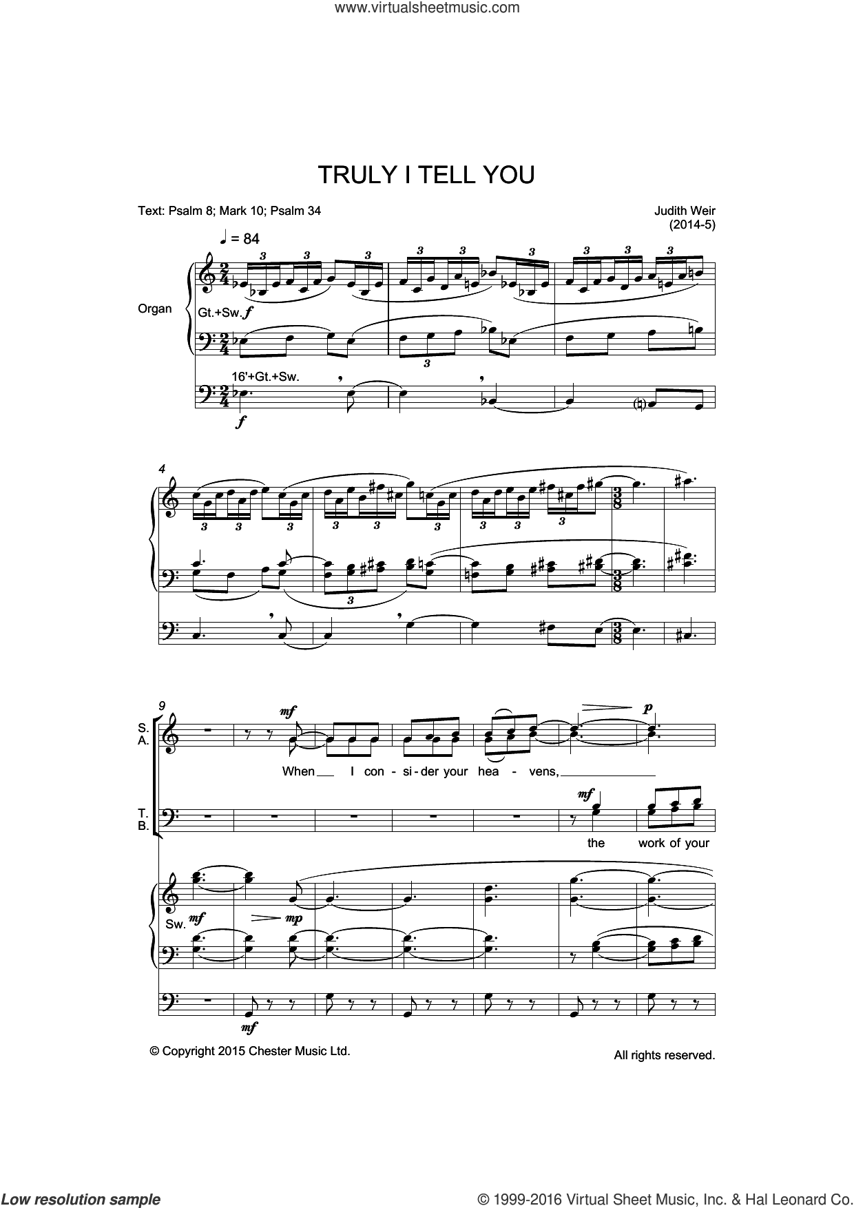 Truly I Tell You sheet music for voice, piano or guitar by Liturgical and Judith Weir. Score Image Preview.