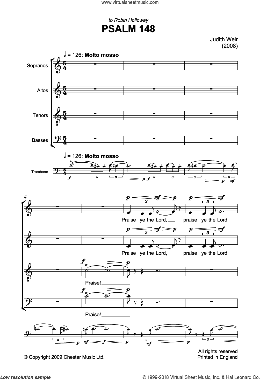 Psalm 148 sheet music for choir and piano by Liturgical Text and Judith Weir. Score Image Preview.