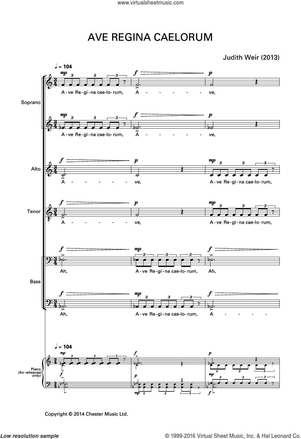 Ave Regina Caelorum sheet music for voice, piano or guitar by Liturgical Text and Judith Weir. Score Image Preview.