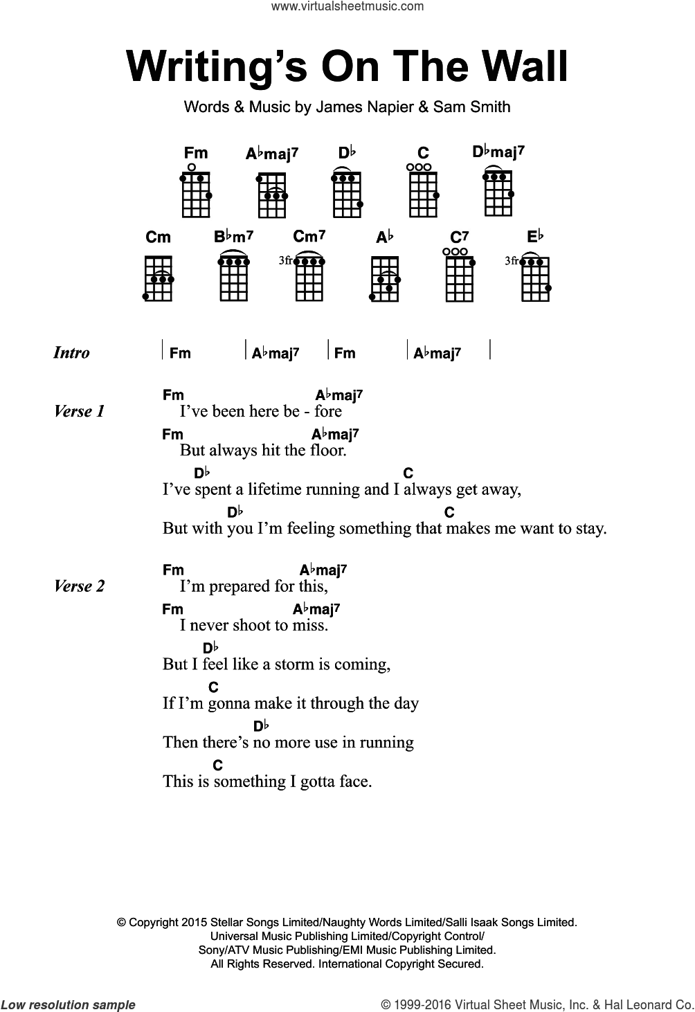 Writing's On The Wall (from James Bond: Spectre) sheet music for voice, piano or guitar by Sam Smith and James Napier, intermediate skill level