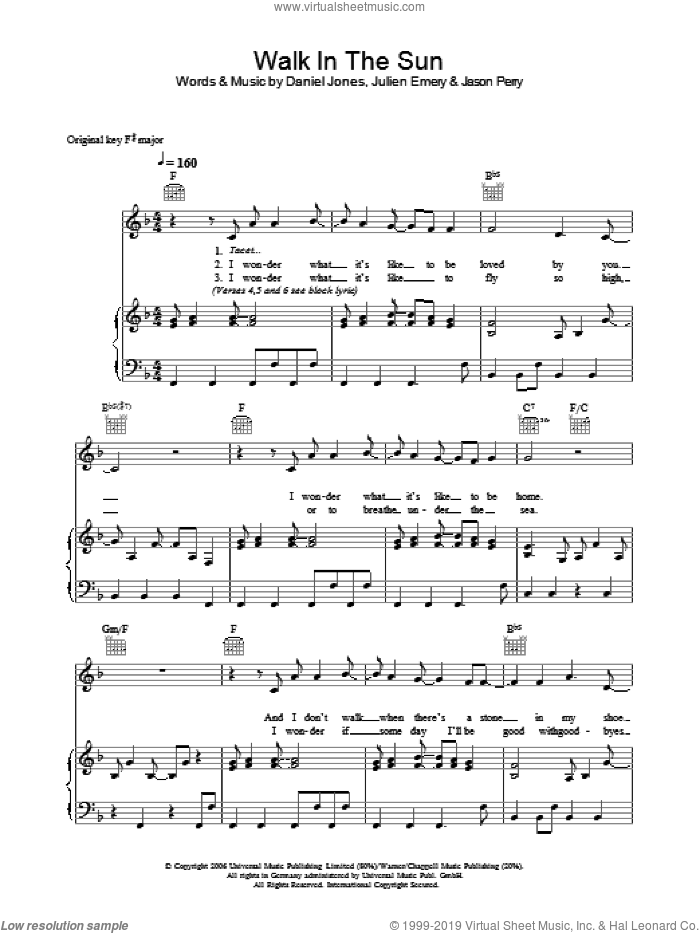 Walk In The Sun sheet music for voice, piano or guitar by Danny Jones and Jason Perry. Score Image Preview.