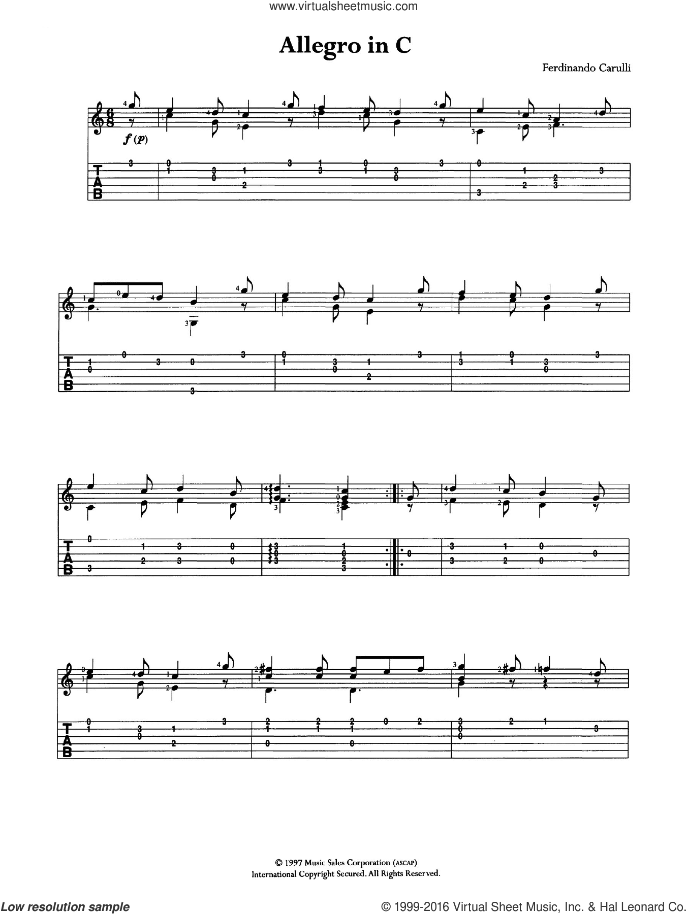 Allegro In C sheet music for guitar (tablature) by Ferdinando Carulli. Score Image Preview.