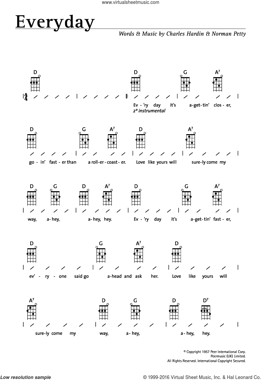 Everyday sheet music for ukulele (chords) by Norman Petty, Buddy Holly and Charles Hardin. Score Image Preview.