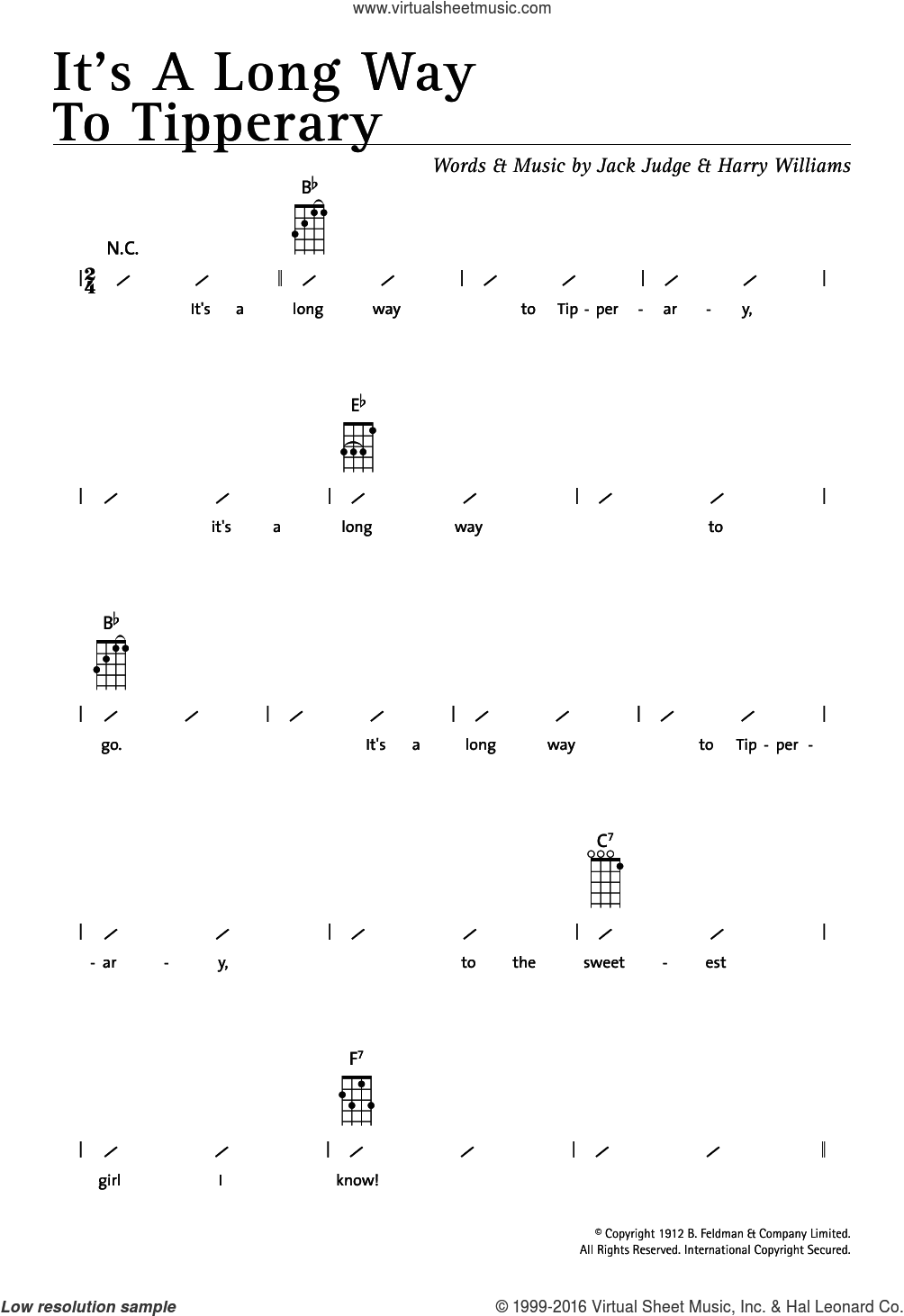 It's A Long Way To Tipperary sheet music for ukulele (chords) by Jack Judge, Miscellaneous and Harry Williams, intermediate skill level