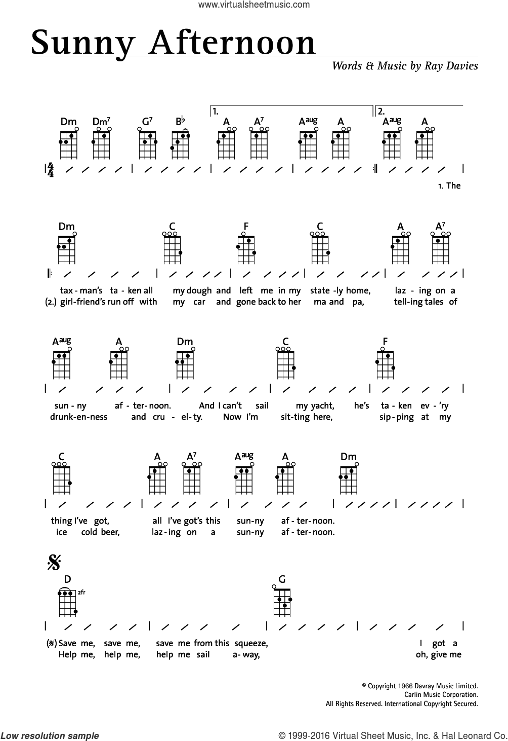 Sunny Afternoon sheet music for ukulele (chords) by The Kinks and Ray Davies, intermediate skill level