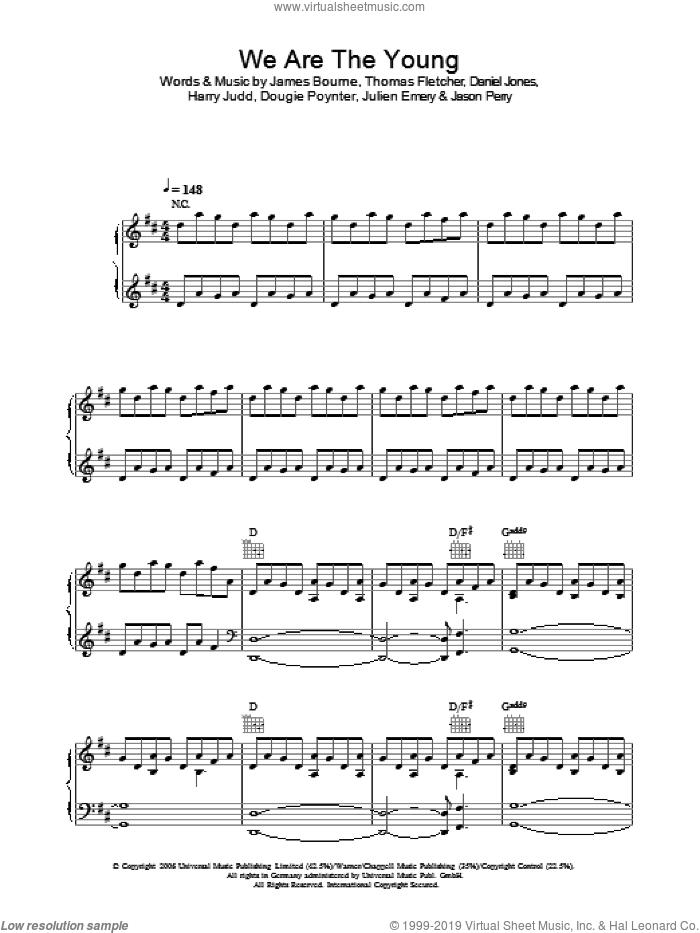 We Are The Young sheet music for voice, piano or guitar by McFly, Danny Jones and Jason Perry, intermediate. Score Image Preview.