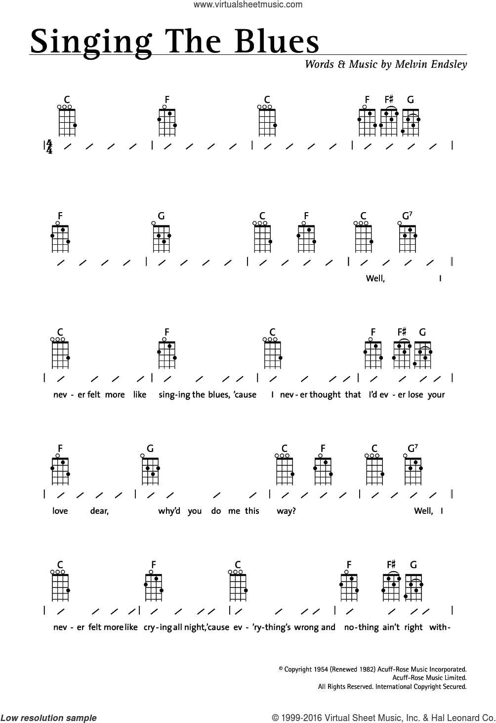 Singing The Blues sheet music for ukulele (chords) by Melvin Endsley. Score Image Preview.