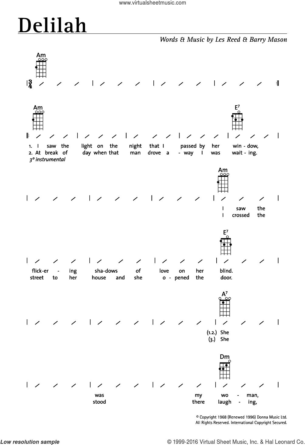 Delilah sheet music for ukulele (chords) by Les Reed, Tom Jones and Barry Mason. Score Image Preview.