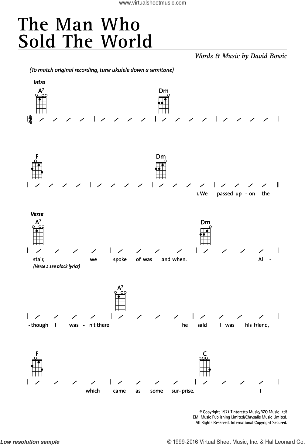 The Man Who Sold The World sheet music for ukulele (chords) by Nirvana and David Bowie. Score Image Preview.