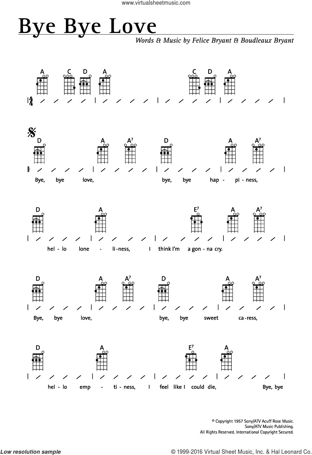 Everly brothers guitar chords
