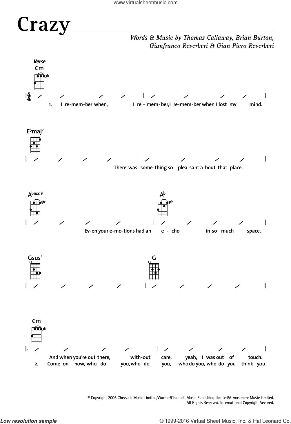 Crazy sheet music for ukulele (chords) by Gnarls Barkley, Brian Burton, Gian Piero Reverberi, Gianfranco Reverberi and Thomas Callaway, intermediate skill level